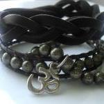 Bracelet Set of 3 Pyrite and Leather with Om Charm
